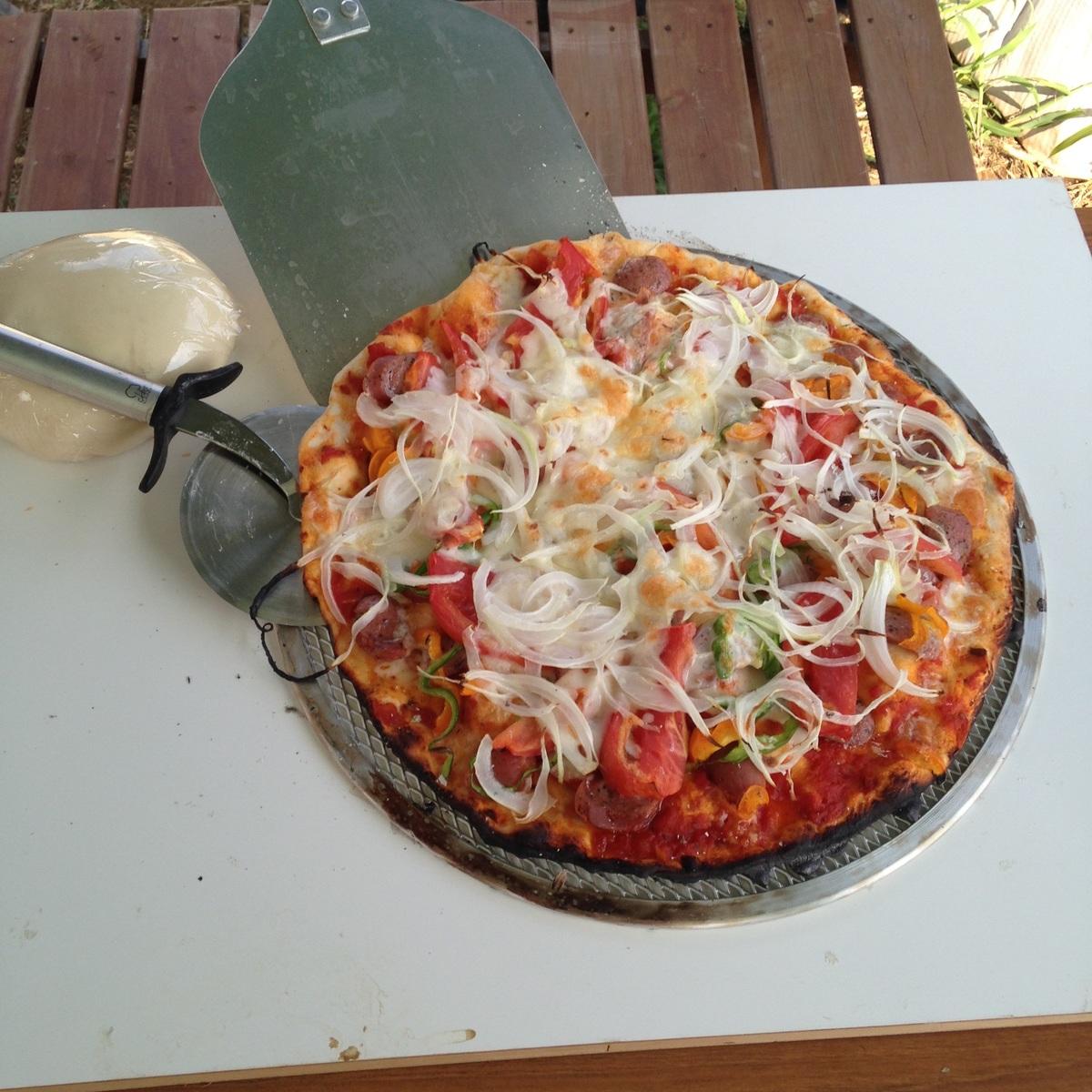焼きたてのピザ!